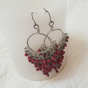 ❤3/10$ Red and silver beaded earrings